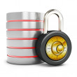 3d database with padlock security concept - Stok fotoğraf