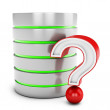 3d database server with red question mark — Stock Photo