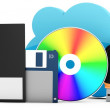 3d data storage evolution from disks to cloud — Stock Photo