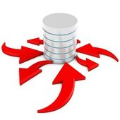 3d database flow with arrows — Stock Photo