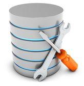 Banco de dados 3d com ferramentas — Fotografia Stock