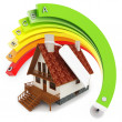 Stock Photo: 3d house Energy efficiency concept