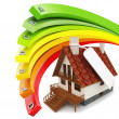 3d house Energy efficiency concept - Stock Photo