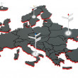 Stock Photo: 3d black map of europe with sign posts