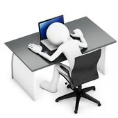 3d man sleeping on a desk with laptop — Stock Photo