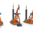 3d Oil Pump jacks — Stock Photo