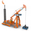 3d Oil Pump jacks - Stock Photo