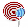 3d target with magnifying glass — Stock Photo