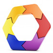 3d arrow hexagon — Stock Photo