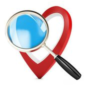3d heart and magnify glass, concept searching for love — Stock Photo
