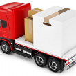 3d truck with packages delivery — Stock Photo