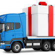 3d truck gift box delivery — Stock Photo