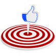 3d red  target with  like sign — Stock Photo