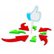 3d Arrows aimed at the Like symbol — Stock Photo