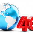 3d earth globe with 4G mobile symbol — Stock Photo