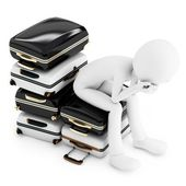 3d man thinking where to travel, sitting on a pile of suitcases — Stock Photo
