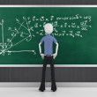 3d man with mathematic equations on a blackboard  — ストック写真