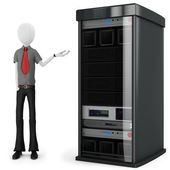 3d man businessman with server rack — Stockfoto