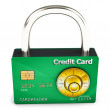 Stock Photo: 3d credit card with security lock