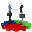 3d business man making a deal and shaking hands — Stock Photo