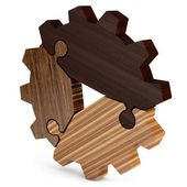 3d business teamwork, partnership and success concept gear from puzzle pieces — Stock Photo