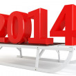 3d Happy New Year 2014 with sleigh — Stock Photo #32920703