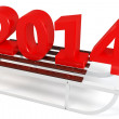 Stock Photo: 3d Happy New Year 2014 with sleigh