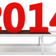 3d Happy New Year 2014 with sleigh — Stock Photo #32920733