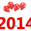 Stock Photo: 3d shiny red balloons with 2014