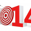 3d New year 2014 with target and arrows — Stock Photo #32920855