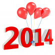 3d shiny red balloons with 2014 — Stock Photo