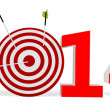 Stock Photo: 3d New year 2014 with target and arrows