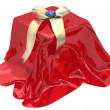 Stock Photo: 3d gift box under red cloth