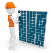 3d man worker with solar panel — Stock Photo