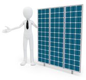 3d businessman with solar panel — Stock Photo