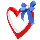 3d Heart with beautiful ribbon — Stock Photo