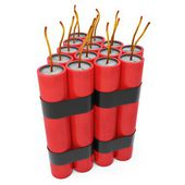 3d dynamite pack with fuse — Stock Photo