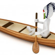 3d man indian warrior with canoe — Stock Photo #40427229