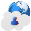 3d cloud with user icon and earth globe — Stock Photo #42535665