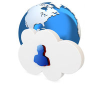 3d cloud with user icon and earth globe — Stock Photo