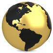 3d golden earth globe — Stock Photo