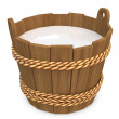 3d wooden bucket with milk — Stock Photo