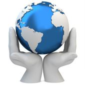 3d hands holding a blue earth globe, protection concept — Stockfoto