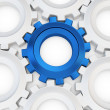 3d blue cog with white crowd — Stock Photo #45098369