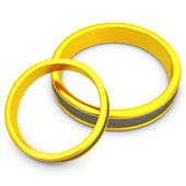 3d pair of golden wedding rings — Stockfoto