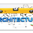 3d construction concept. Blueprint, level and pencils — Stock Photo