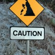 Landslide sign in snow — Stock Photo