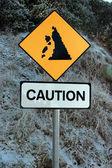 Landslide sign in snow — Stock Photo