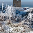 Stock Photo: Christmasy view of ballybunion castle ruin and sea