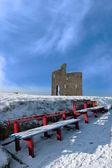 バリーバニオン城と赤いベンチへの経路を冬します。 — ストック写真